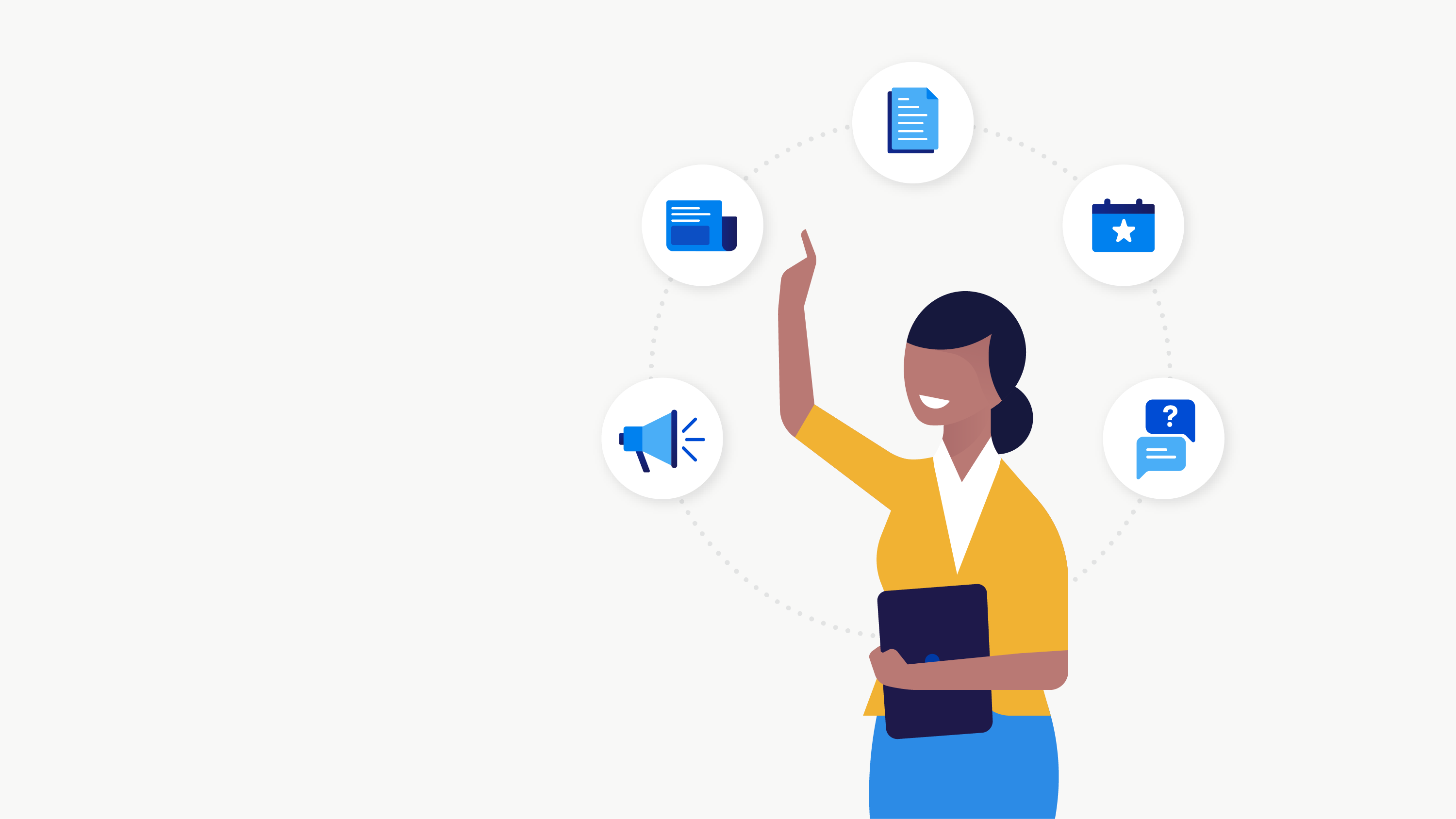 Illustration of a woman choosing from icons that represent latest product updates, blog posts, resources, upcoming events and contact information