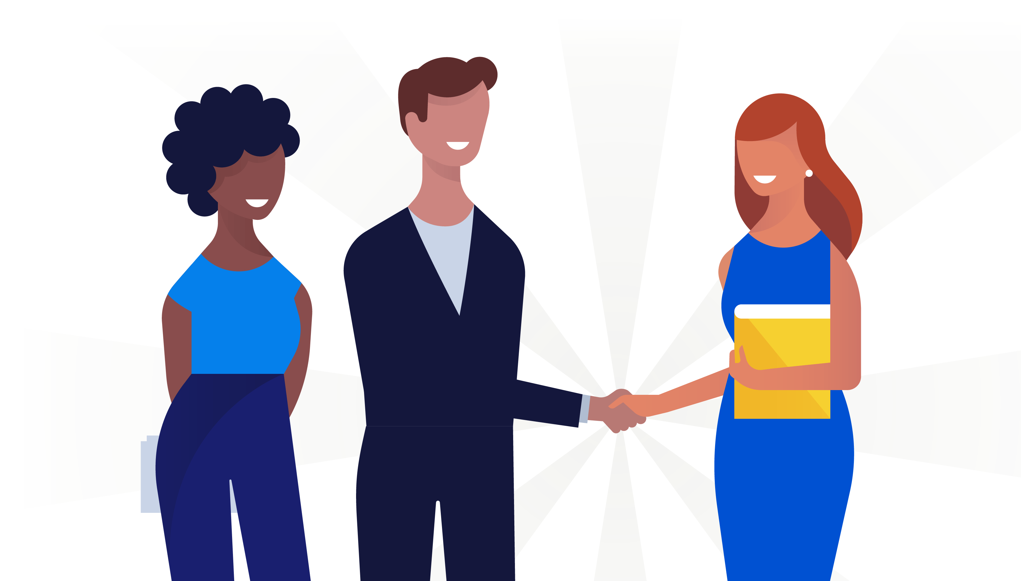 Illustration of three businesspeople shaking hands