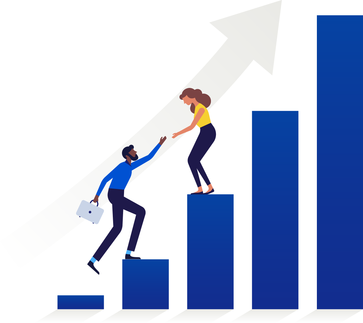 Illustration of businesswoman helping businessman up growth chart